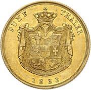 5 Thaler - Friedrich Franz I. – reverse