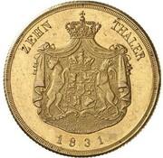 10 Thaler - Friedrich Franz I. – reverse