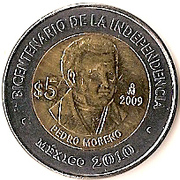 5 Pesos (Pedro Moreno) -  reverse