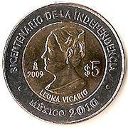 5 Pesos (Leona Vicario) -  reverse