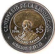 5 Pesos (Emiliano Zapata) -  reverse