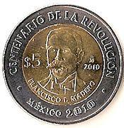 5 Pesos (Francisco I. Madero) -  reverse
