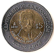 5 Pesos (José María Pino Suárez) -  reverse