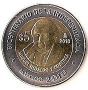 5 Pesos (Miguel Hidalgo y Costilla) -  reverse