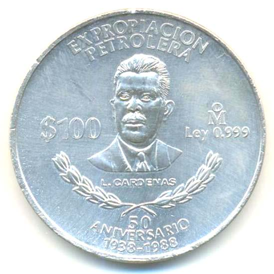 100 Pesos (Nationalization of Oil Industry) - Mexico – Numista