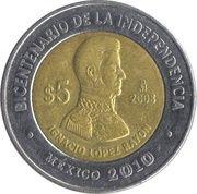 5 Pesos (Ignacio López Rayón) -  reverse