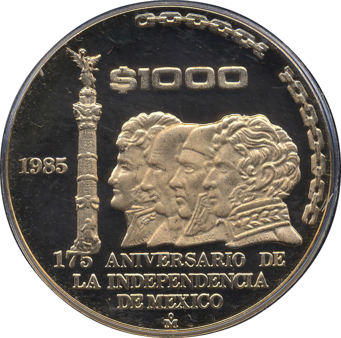 1000 Pesos (175th Anniversary of Independence) - Mexico
