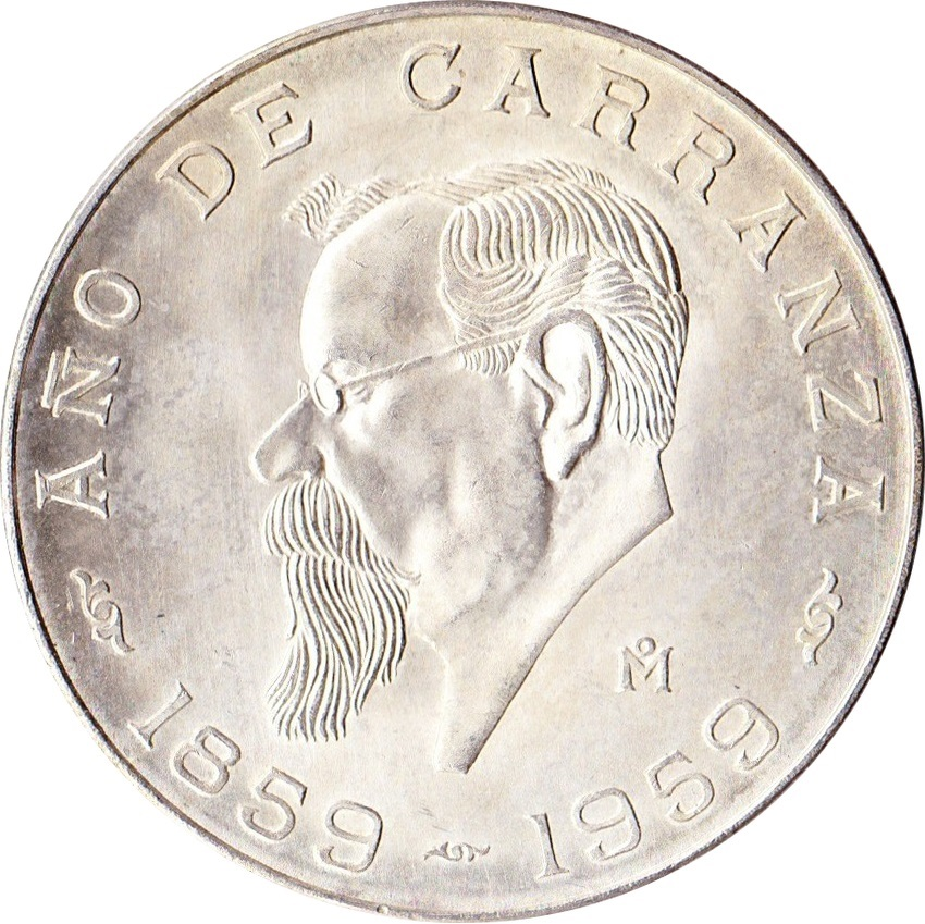 5 Pesos Centennial Of Carranza S Birth Mexico Numista