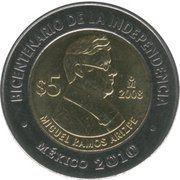 5 Pesos (Miguel Ramos Arizpe) -  reverse