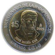 5 Pesos (José María Cos) -  reverse