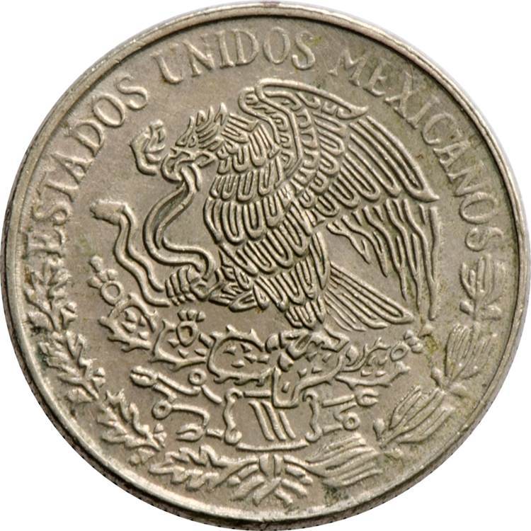 1968 Mexico Olympic Commemorative 72/% Silver EF 25 Pesos Round Bullion Coin