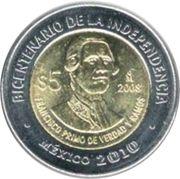 5 Pesos (Francisco Primo de Verdad y Ramos) -  reverse