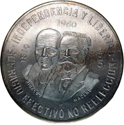 10 Pesos (150th Anniversary of the War of Independence) -  reverse