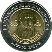 5 Pesos (Mariano Matamoros) -  reverse
