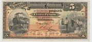 Mexico -  Revolutionary, 5 Pesos Banco Peninsular (Merida) – obverse