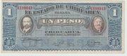 Mexico Revolutionary 1 Peso 1915 - Chihuahua – obverse