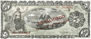 5 Pesos (Gobierno Provisional de México) – obverse