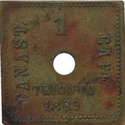 1 Canast - Mexican coffee harvester token – obverse