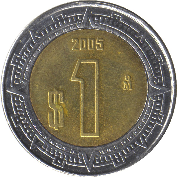 one peso coin 2005