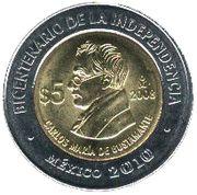5 Pesos (Carlos María de Bustamante) -  reverse