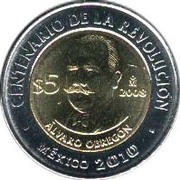 5 Pesos (Álvaro Obregón) -  reverse