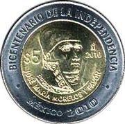 5 Pesos (José María Morelos y Pavón) -  reverse