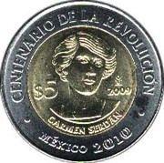5 Pesos (Carmen Serdán) -  reverse