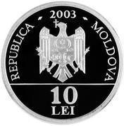 10 Lei (Black stork) – obverse