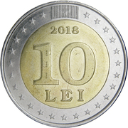 10 Lei (25 years of national currency) – reverse