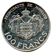 100 Francs - Rainier III (Heir Apparent Prince Albert) – reverse