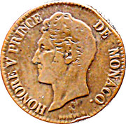 5 Centimes - Honoré V (large head) – obverse