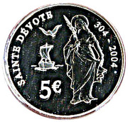 5 Euro - Rainier III (Sainte Devote) – reverse