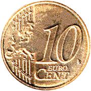 10 Euro Cent - Albert II (2nd type, 2nd map) – reverse