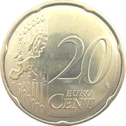 20 Euro Cent - Albert II (2nd type, 2nd map) -  obverse