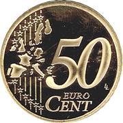 50 Euro Cent - Albert II (2nd type, 1st map) – reverse