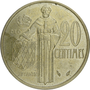 20 Centimes - Rainier III – reverse