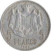 5 Francs - Louis II – reverse