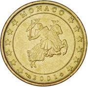 10 Euro Cent - Rainier III (1st type, 1st map) – obverse