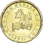 20 Euro Cent - Rainier III (1st type, 1st map) – obverse
