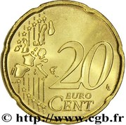 20 Euro Cent - Rainier III (1st type, 1st map) – reverse