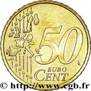 50 Euro Cent - Rainier III (1st type, 1st map) – reverse