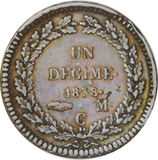 1 Decime - Honore V (knot of wreath untied) – reverse