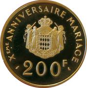200 Franc - Rainier III ( Xème Anniversaire de mariage) – reverse