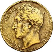 5 Centimes - Honoré V (large head) – obverse