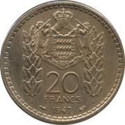 20 Francs - Louis II – reverse