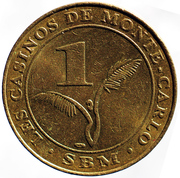 1 Franc - Casinos de Monte Carlo – reverse
