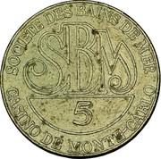 5 Francs - Casino de Monte Carlo (SBM) – reverse