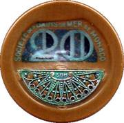 20 Francs - Casino de Monte Carlo (with filigree silver) – reverse