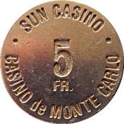 5 Francs - Sun Casino – reverse