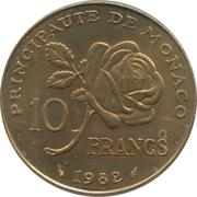 10 Francs - Rainier III (Princess Grace) – reverse